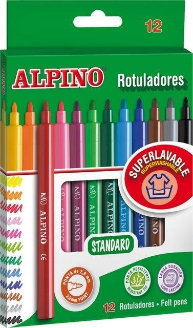 Carioca lavabila, 12 culori/cutie, ALPINO Standard - culori clasice 0
