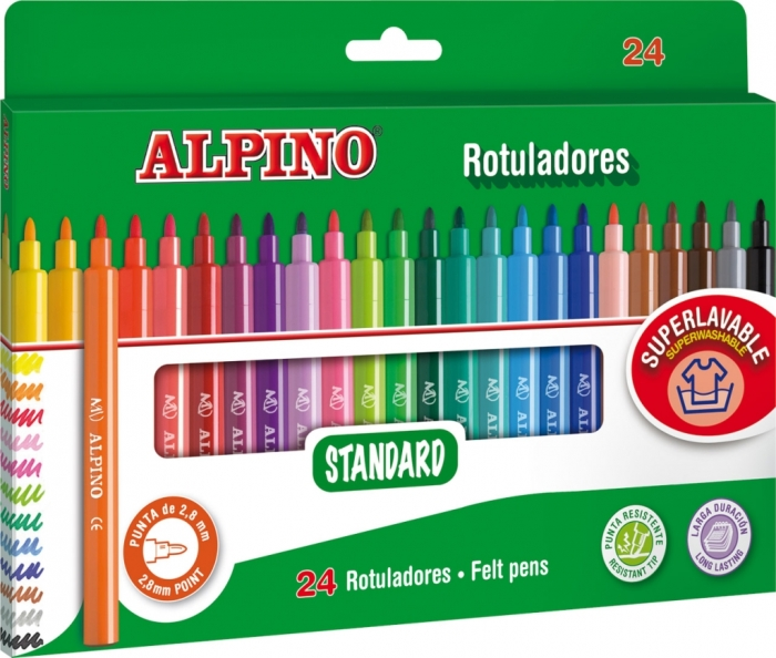 Carioca lavabila, 24 culori/cutie, ALPINO Standard - culori clasice 0