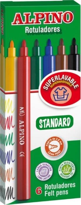 Carioca lavabila, 6 culori/cutie, ALPINO Standard 0