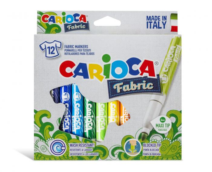 Carioca pentru textile, varf gros - 6mm, 12 culori/cutie, CARIOCA Fabric 0