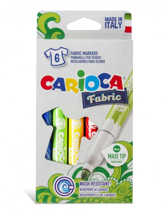 Carioca pentru textile, varf gros - 6mm, 6 culori/cutie, CARIOCA Fabric [0]