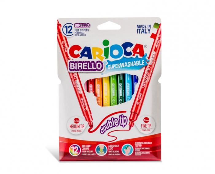 Carioca super lavabila, cu 2 capete, varf subtire/gros, 12 culori/cutie, CARIOCA Birello 0