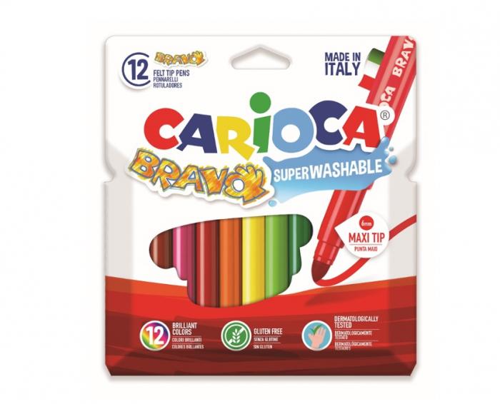 Carioca super lavabila, varf gros - 6mm, 12 culori/cutie, CARIOCA Bravo [0]