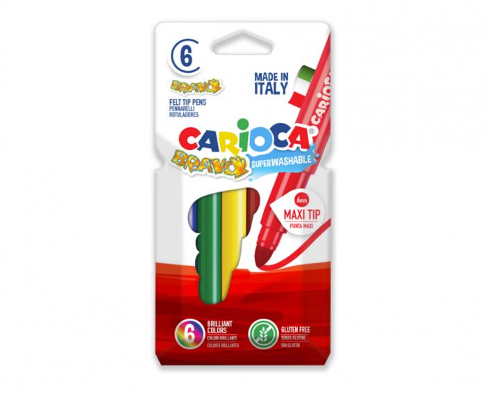 Carioca super lavabila, varf gros - 6mm, 6 culori/cutie, CARIOCA Bravo [0]