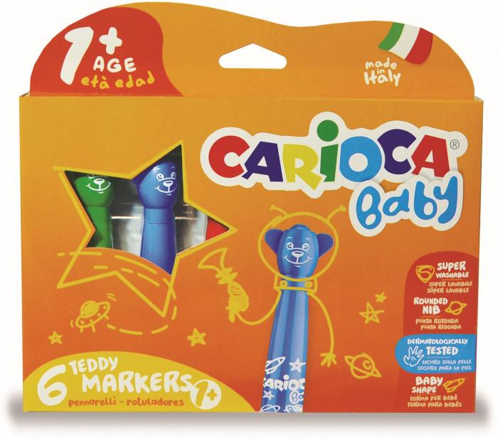 Carioca super lavabila, varf rotunjit special, 6 culori/cutie, CARIOCA Baby Teddy 1+ 0