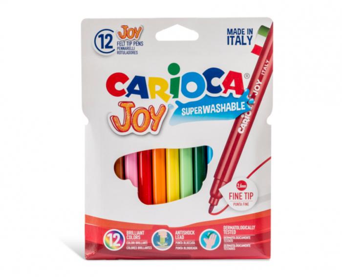Carioca super lavabila, varf subtire - 2.6mm, 12 culori/cutie, CARIOCA Joy [0]