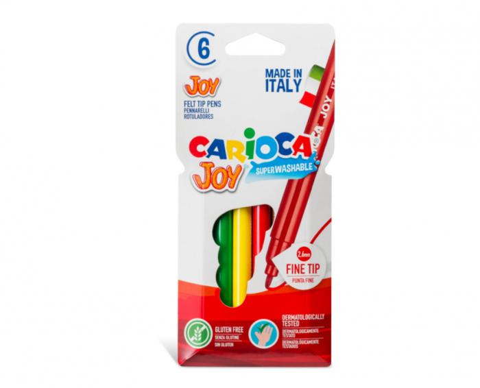 Carioca super lavabila, varf subtire - 2.6mm, 6 culori/cutie, CARIOCA Joy [0]