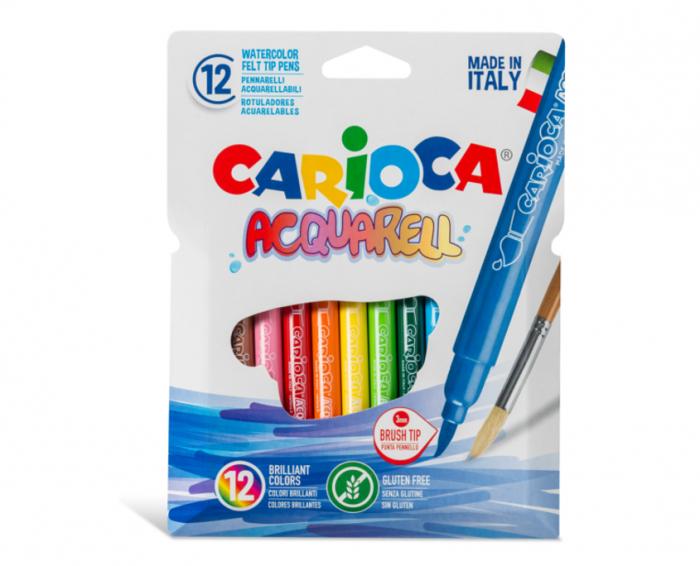 Carioca, varf flexibil - 3mm (tip pensula), 12 culori/cutie, CARIOCA Acquarell 0