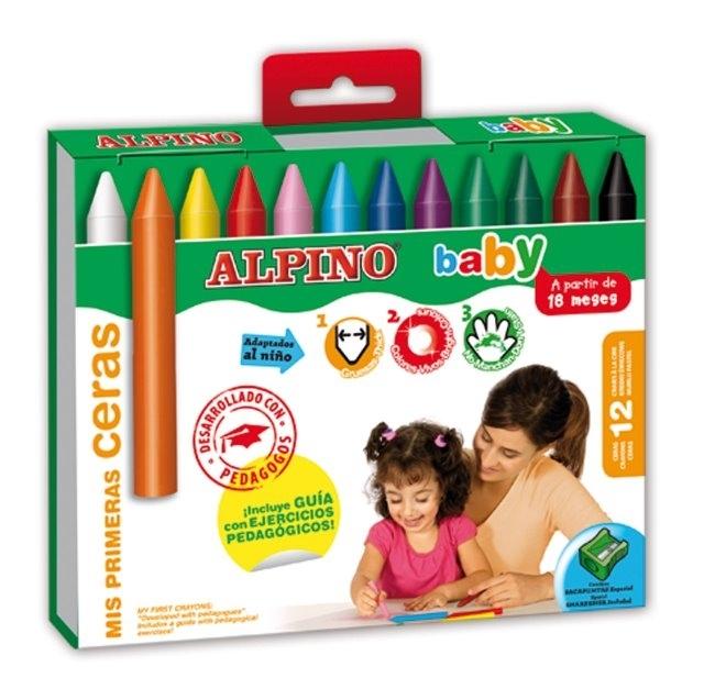 Creioane cerate, cutie carton, 12 culori/set, ALPINO Baby [0]