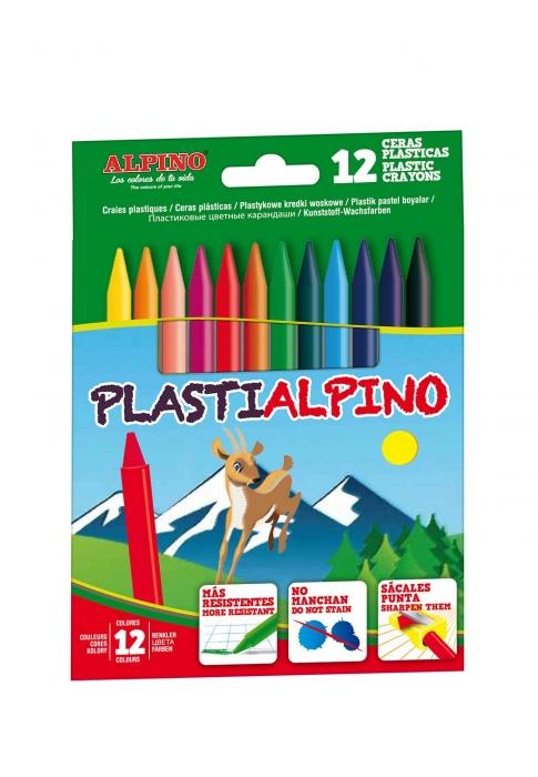 Creioane cerate din plastic, cutie carton, 12 culori/cutie, Plasti ALPINO 0