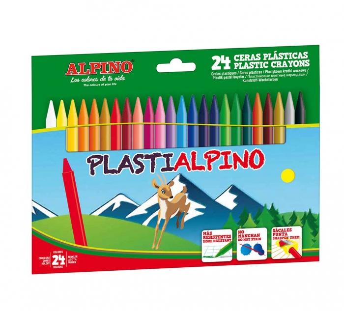 Creioane cerate din plastic, cutie carton, 24 culori/cutie, Plasti ALPINO 0