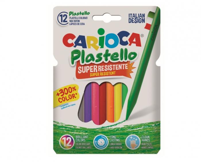 Creioane cerate, rotunde, super rezistente, lavabile, 12 culori/cutie, CARIOCA Pastello 0