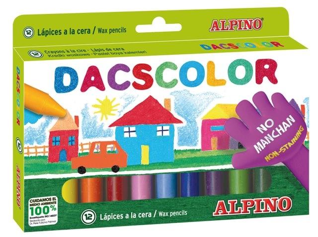 Creioane cerate semi-soft, cutie carton, 12 culori/cutie, ALPINO DacsColor 0