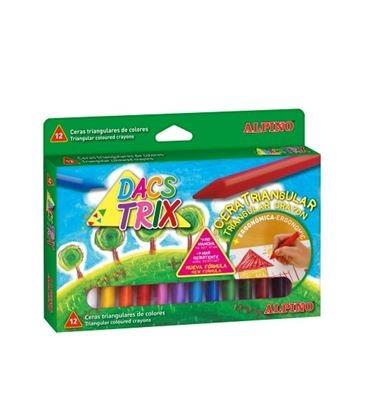 Creioane cerate soft, triunghilare, cutie carton, 12 culori/cutie, ALPINO DacsTrix 0