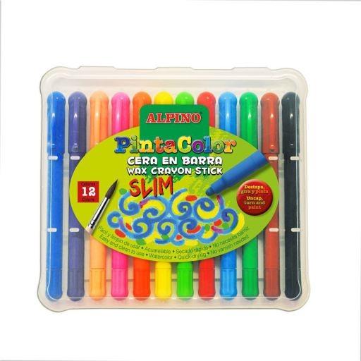 Creioane cerate subtiri, 12 culori/cutie, ALPINO PintaColor Slim 0