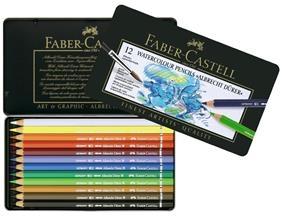 Creioane Colorate Acuarela A.Durer Faber-Castell, 12 culori, cutie metalica 0