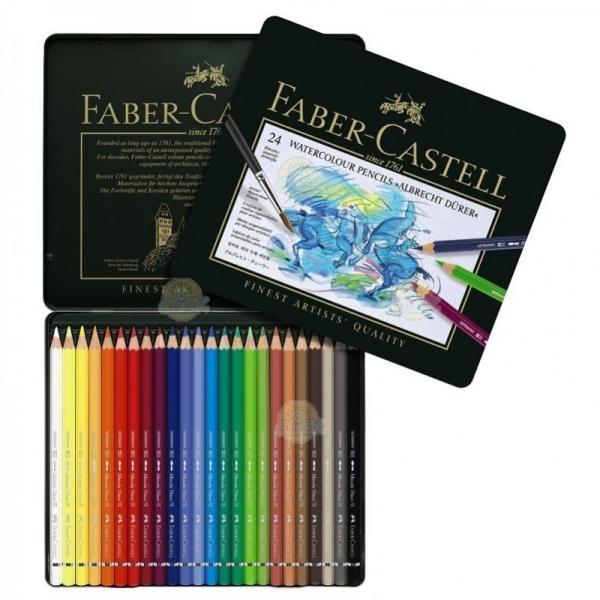 Creioane Colorate Acuarela A.Durer Faber-Castell, 24 culori, cutie metalica 0