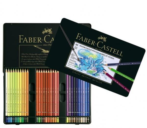 Creioane Colorate Acuarela A.Durer Faber-Castell, 60 culori, cutie metal 0