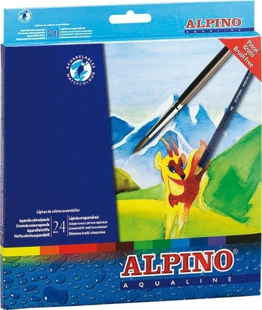 Creioane colorate acuarela, cutie carton, 24 culori/set, ALPINO Aqualine [0]