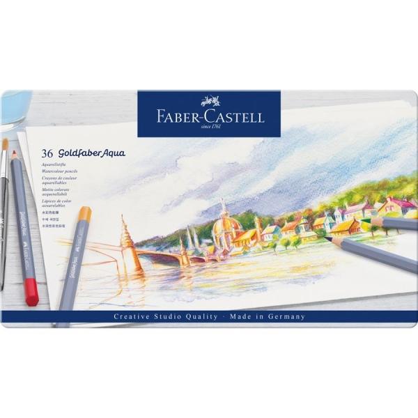 Creioane colorate Aqua, 36 culori / set, GOLDFABER  Faber-Castell - cutie metalica 0