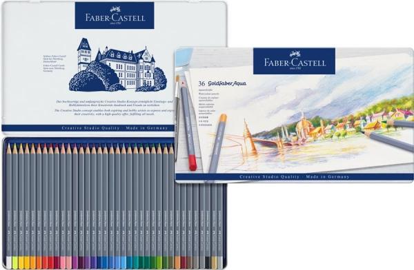 Creioane colorate Aqua, 36 culori / set, GOLDFABER  Faber-Castell - cutie metalica 2