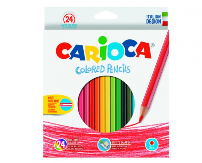 Creioane colorate CARIOCA, hexagonale, 24 culori/cutie 0