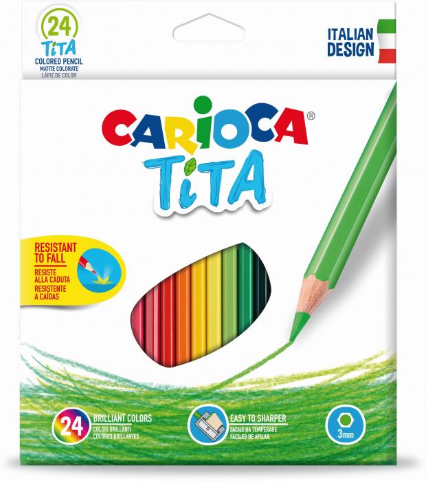 Creioane colorate CARIOCA Tita, hexagonale, flexibile, 24 culori/cutie [0]