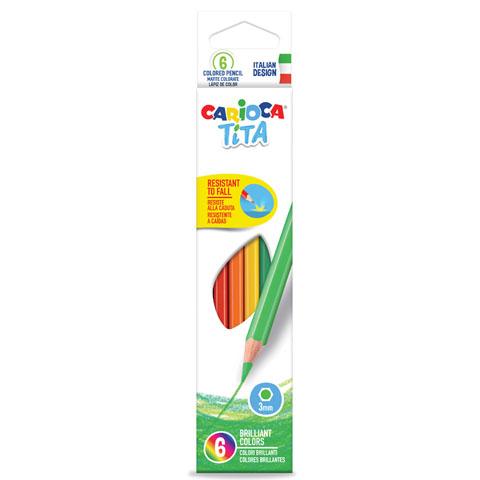 Creioane colorate CARIOCA Tita, hexagonale, flexibile, 6 culori/cutie [0]