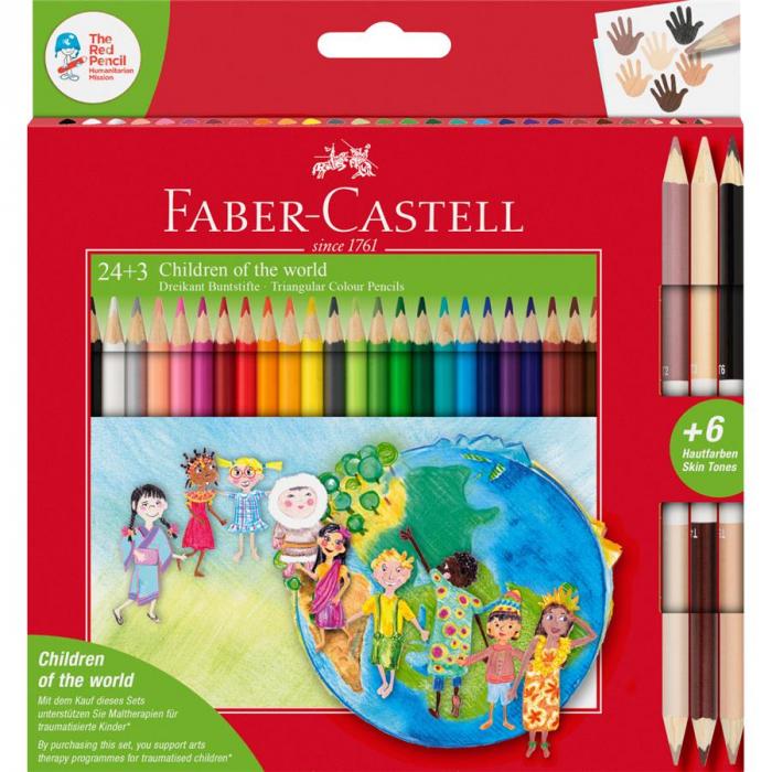Creioane Colorate Children Of The World Faber-Castell, 24 culori + 3 creioane bicolore tonuri in culoarea pielii 0