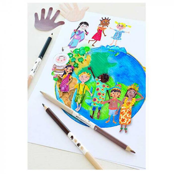 Creioane Colorate Children Of The World Faber-Castell, 24 culori + 3 creioane bicolore tonuri in culoarea pielii 2