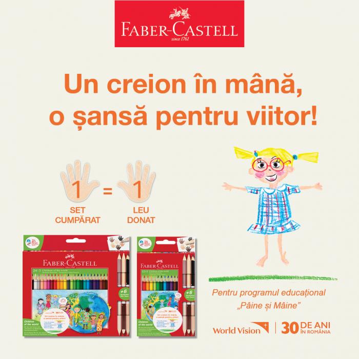 Creioane Colorate Children Of The World Faber-Castell, 24 culori + 3 creioane bicolore tonuri in culoarea pielii 1