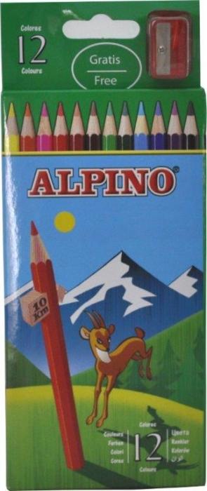 Creioane colorate, cutie carton, 12 culori/set, ALPINO 0