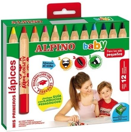 Creioane colorate, cutie carton, 12 culori/set, ALPINO Baby 0