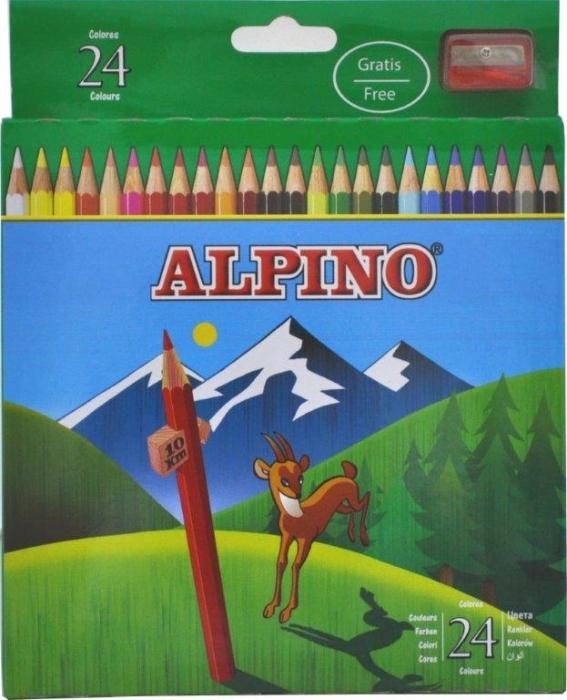 Creioane colorate, cutie carton, 24 culori/set, ALPINO [0]