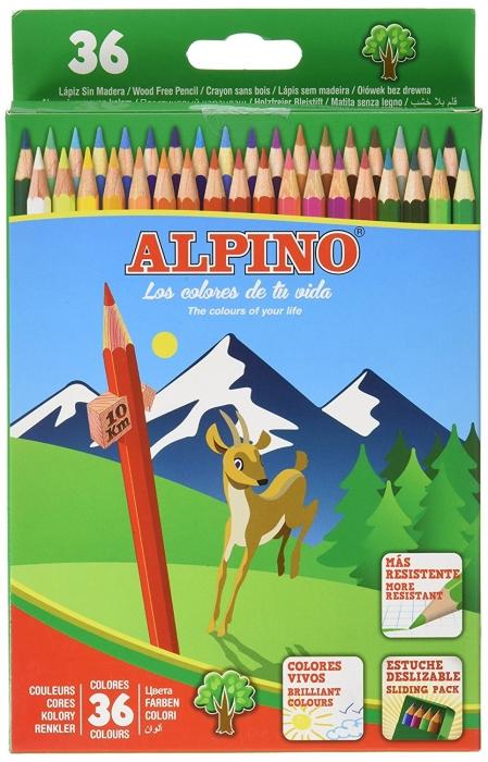 Creioane colorate, cutie carton, 36 culori/set, ALPINO 0