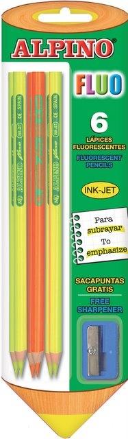 Creioane colorate fluorescente, 6 culori/blister + ascutitoare, ALPINO Fluo 0