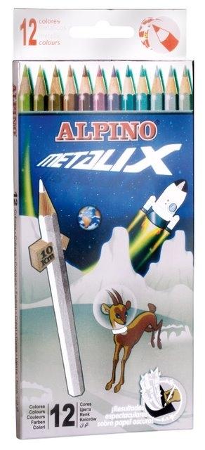 Creioane colorate metalizate, cutie carton, 12 culori/set, ALPINO Metalix [0]