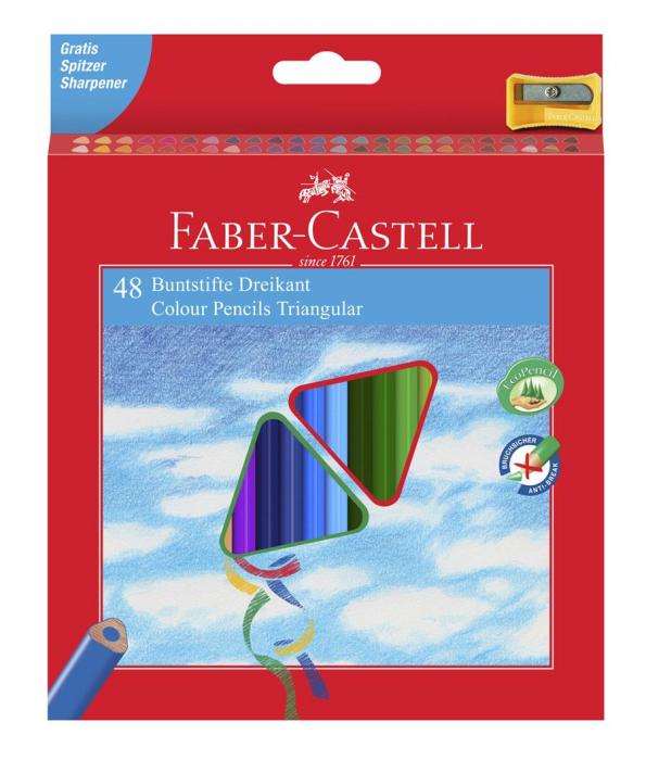 Creioane Colorate Triunghiulare 36 culori cu Ascutitoare Eco Faber-Castell  3