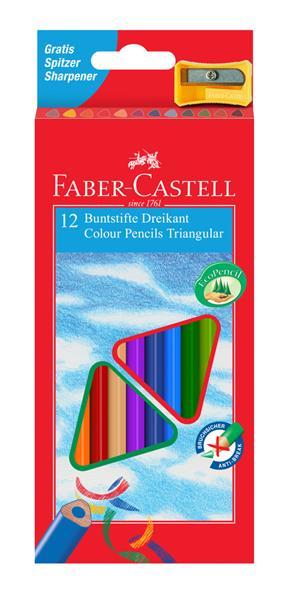 Creioane Colorate Triunghiulare cu Ascutitoare Eco Faber-Castell - 12 culori/set 0