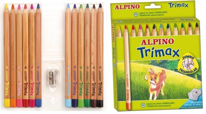 Creioane colorate triunghiulare, cutie carton, 12 culori/set, ALPINO Trimax Jumbo 0