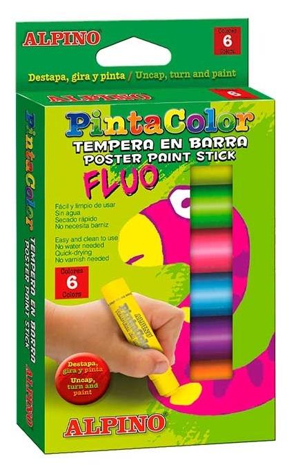 Creioane Tempera fluorescente, 6 culori/cutie, ALPINO PintaColor 0
