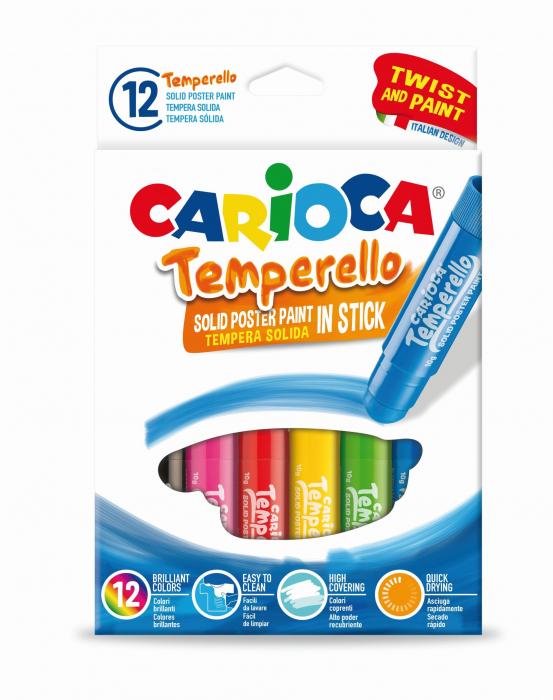 Creioane tempera, lavabile, 12 culori/cutie, CARIOCA Temperello [0]