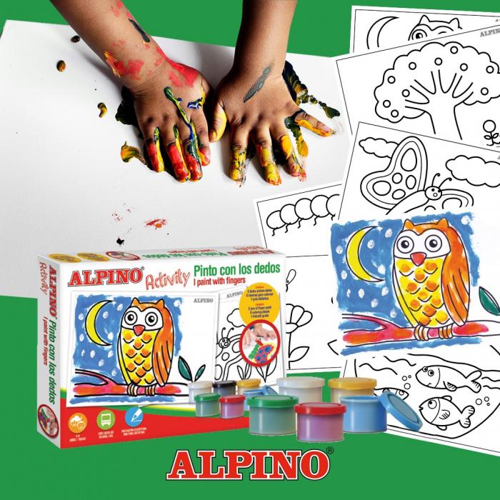 Cutie cu articole creative pentru copii, ALPINO Activity - Paint with the finger 0