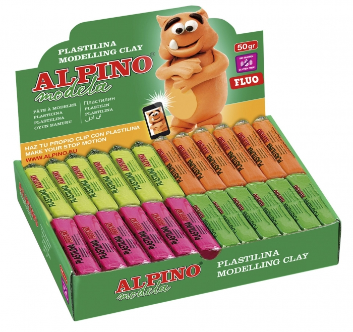 Display plastilina fluorescenta, 24 x 50gr./display, ALPINO - 6 culori asortate 0