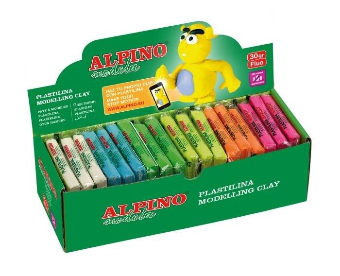 Display plastilina fluorescenta, 36 x 30gr./display, ALPINO - 6 culori asortate 0