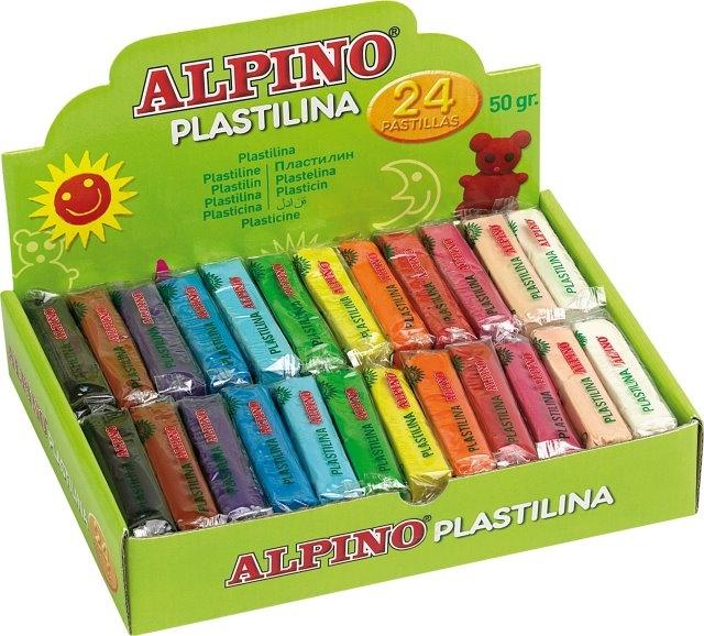 Display plastilina standard, 24 x 50gr./display, ALPINO - 12 culori asortate 0