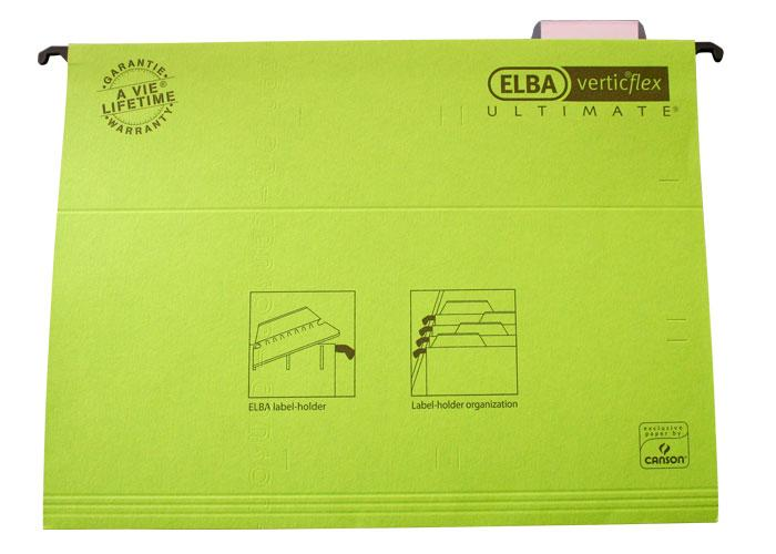 Dosar suspendabil cu eticheta, bagheta metalica, carton 330g/mp, ELBA Verticflex Ultimate - verde 0