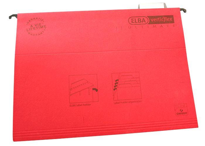Dosar suspendabil cu eticheta, bagheta metalica, carton 330g/mp, ELBA Verticflex Ultimate - rosu [0]