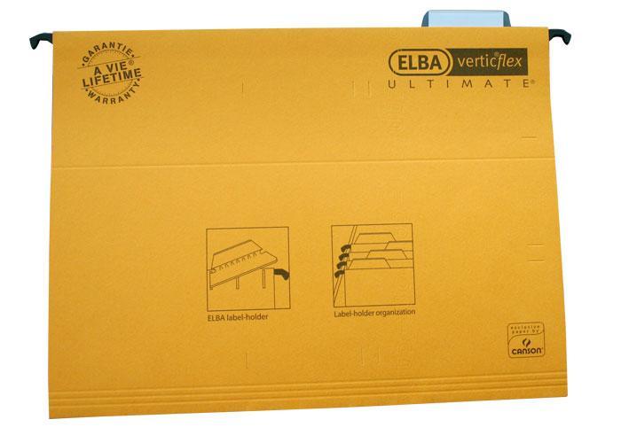 Dosar suspendabil cu eticheta, bagheta metalica, carton 330g/mp, ELBA Verticflex Ultimate - galben 0