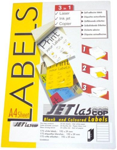 Etichete autoadezive pentru biblioraft 5 cm, 7/A4, 192 x 38 mm, 25 coli/top, JETLASCOP - albe 0